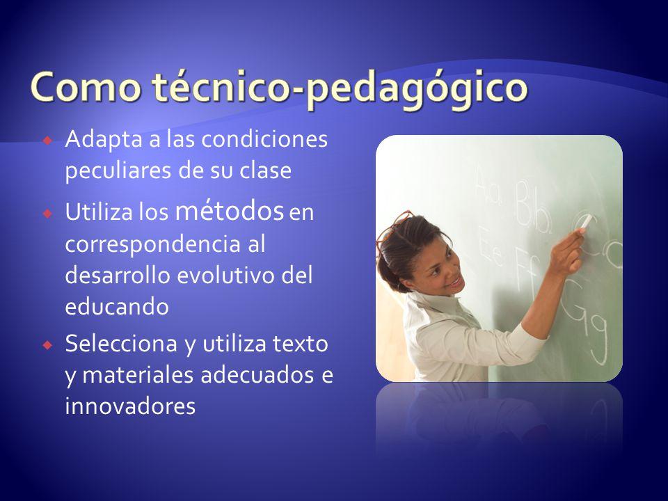 Adapta a las condiciones peculiares de su clase Utiliza los métodos en correspondencia al desarrollo evolutivo del educando Selecciona y utiliza texto