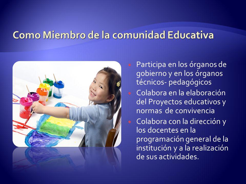 Participa en los órganos de gobierno y en los órganos técnicos- pedagógicos Colabora en la elaboración del Proyectos educativos y normas de convivenci