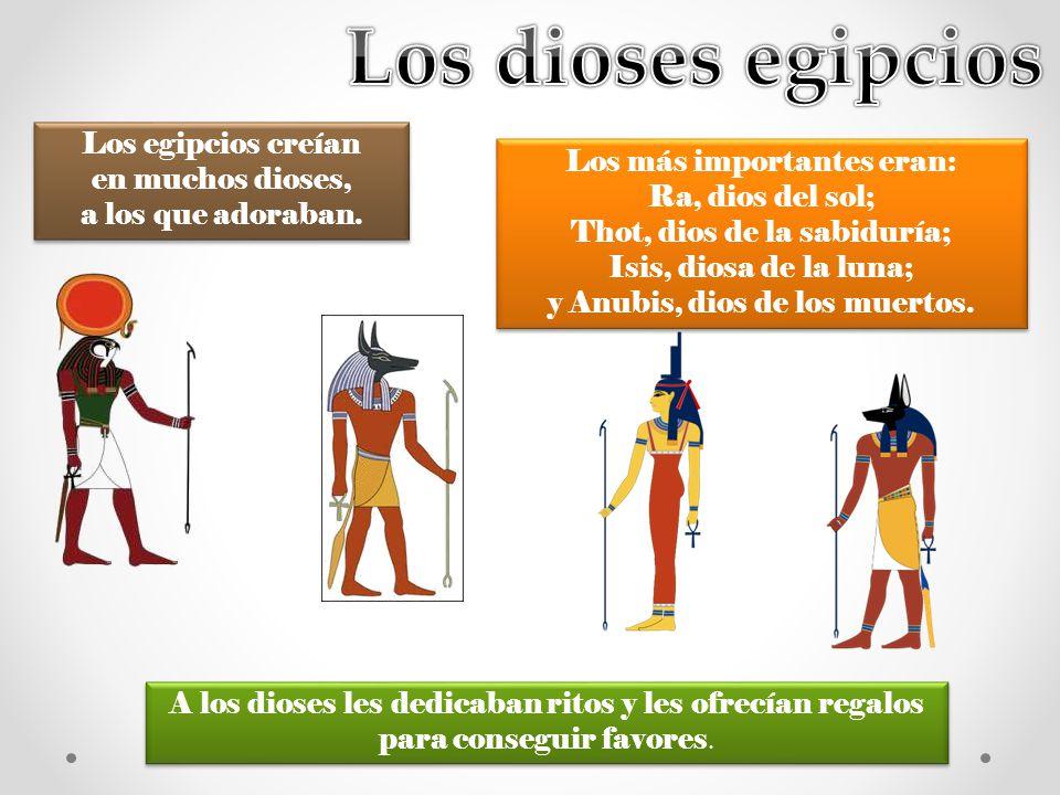 Los egipcios creían en muchos dioses, a los que adoraban. A los dioses les dedicaban ritos y les ofrecían regalos para conseguir favores. Los más impo