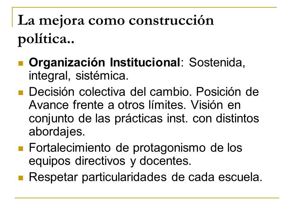 La mejora como construcción política.. Organización Institucional: Sostenida, integral, sistémica. Decisión colectiva del cambio. Posición de Avance f