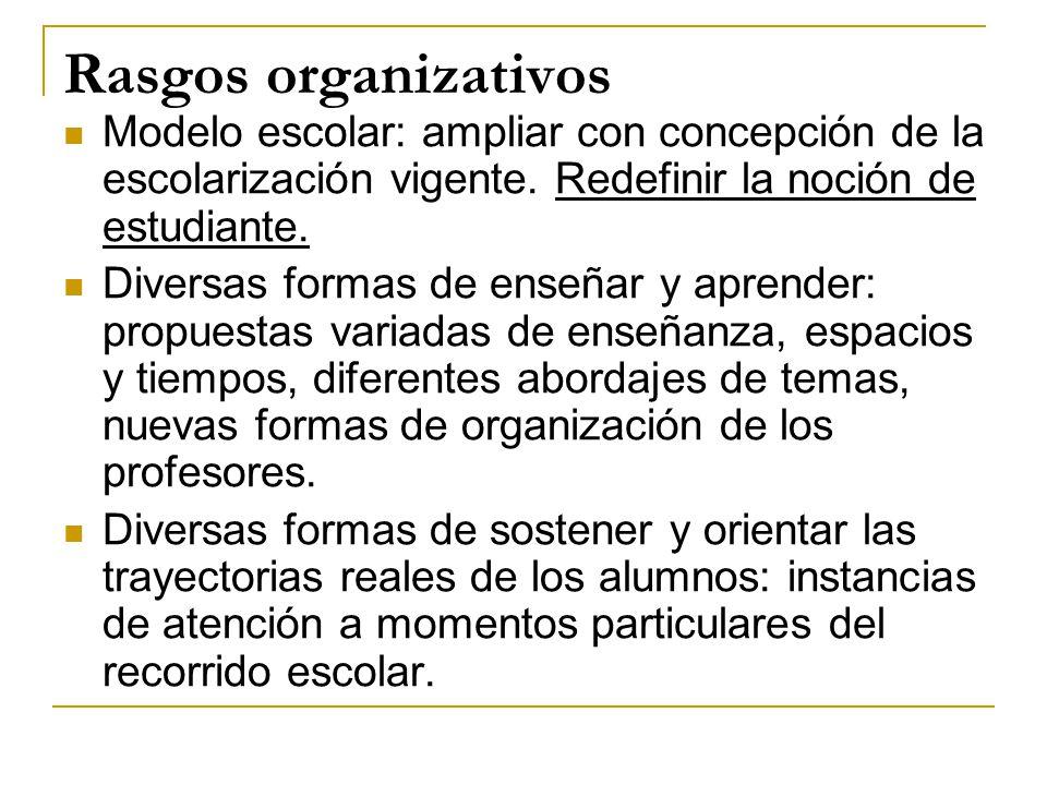 Rasgos organizativos Modelo escolar: ampliar con concepción de la escolarización vigente. Redefinir la noción de estudiante. Diversas formas de enseña