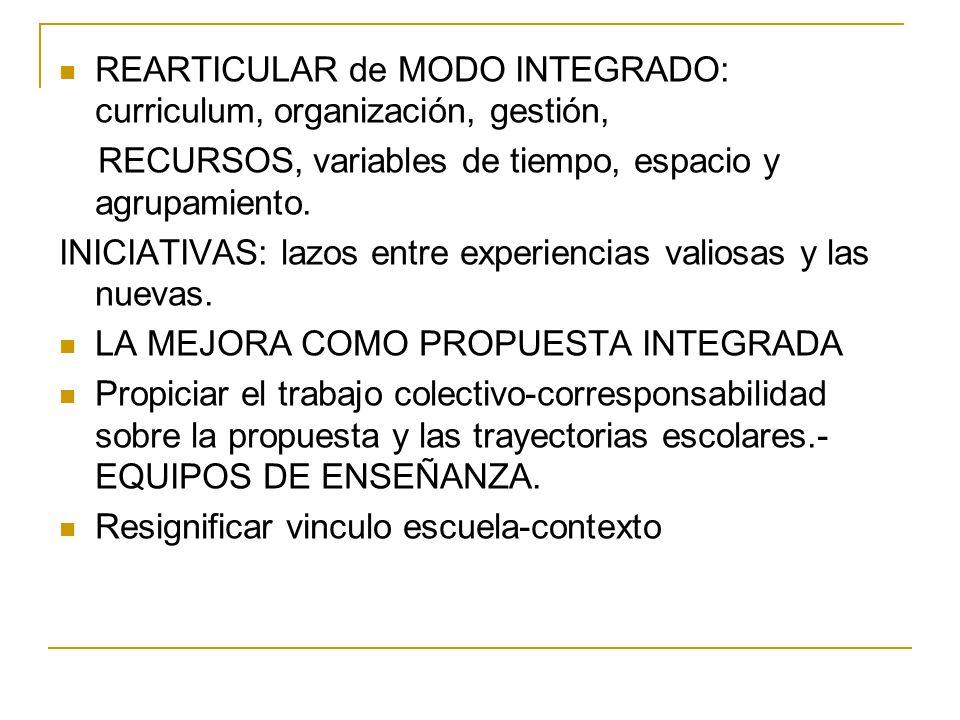 REARTICULAR de MODO INTEGRADO: curriculum, organización, gestión, RECURSOS, variables de tiempo, espacio y agrupamiento. INICIATIVAS: lazos entre expe