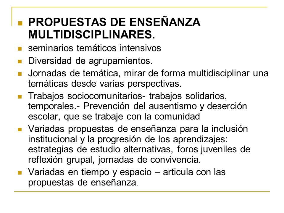 PROPUESTAS DE ENSEÑANZA MULTIDISCIPLINARES. seminarios temáticos intensivos Diversidad de agrupamientos. Jornadas de temática, mirar de forma multidis