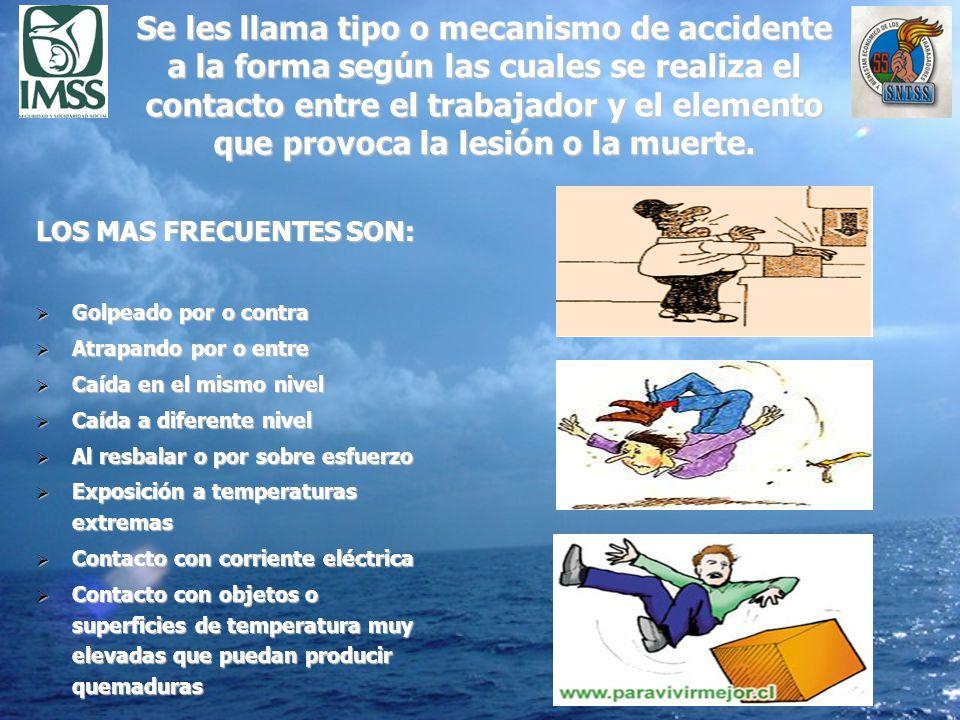 Se les llama tipo o mecanismo de accidente a la forma según las cuales se realiza el contacto entre el trabajador y el elemento que provoca la lesión