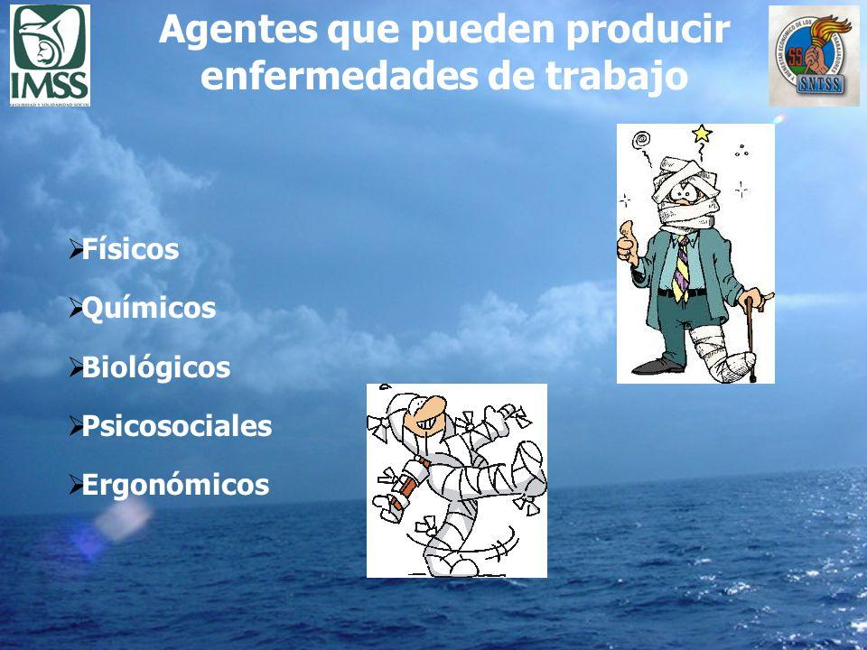 Físicos Químicos Biológicos Psicosociales Ergonómicos Agentes que pueden producir enfermedades de trabajo