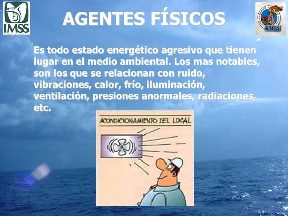 AGENTES FÍSICOS Es todo estado energético agresivo que tienen lugar en el medio ambiental. Los mas notables, son los que se relacionan con ruido, vibr