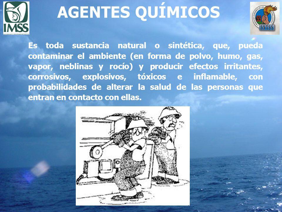 AGENTES QUÍMICOS Es toda sustancia natural o sintética, que, pueda contaminar el ambiente (en forma de polvo, humo, gas, vapor, neblinas y rocío) y pr