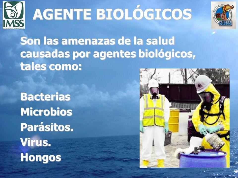 AGENTE BIOLÓGICOS Son las amenazas de la salud causadas por agentes biológicos, tales como: BacteriasMicrobiosParásitos.Virus.Hongos
