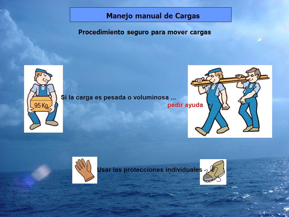 Procedimiento seguro para mover cargas Manejo manual de Cargas Si la carga es pesada o voluminosa... pedir ayuda Usar las protecciones individuales