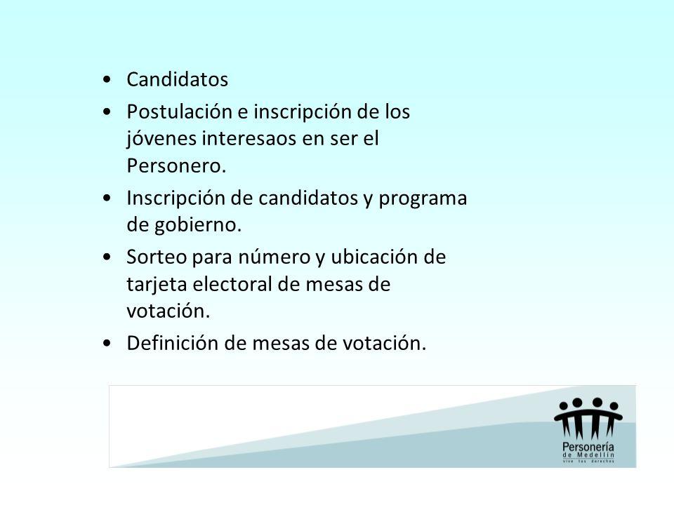 Candidatos Postulación e inscripción de los jóvenes interesaos en ser el Personero. Inscripción de candidatos y programa de gobierno. Sorteo para núme