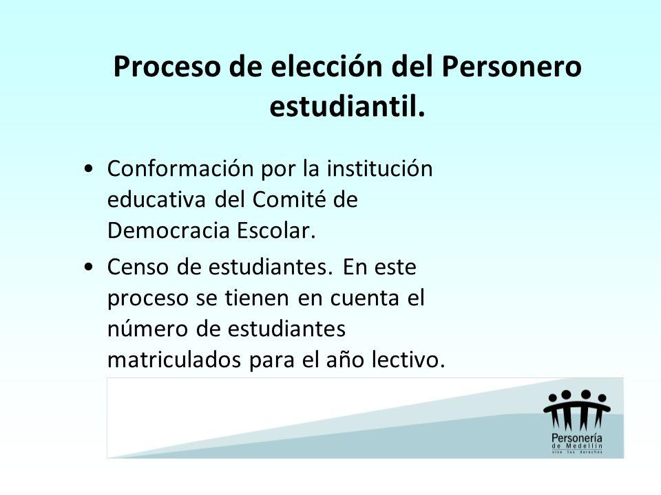 Proceso de elección del Personero estudiantil. Conformación por la institución educativa del Comité de Democracia Escolar. Censo de estudiantes. En es
