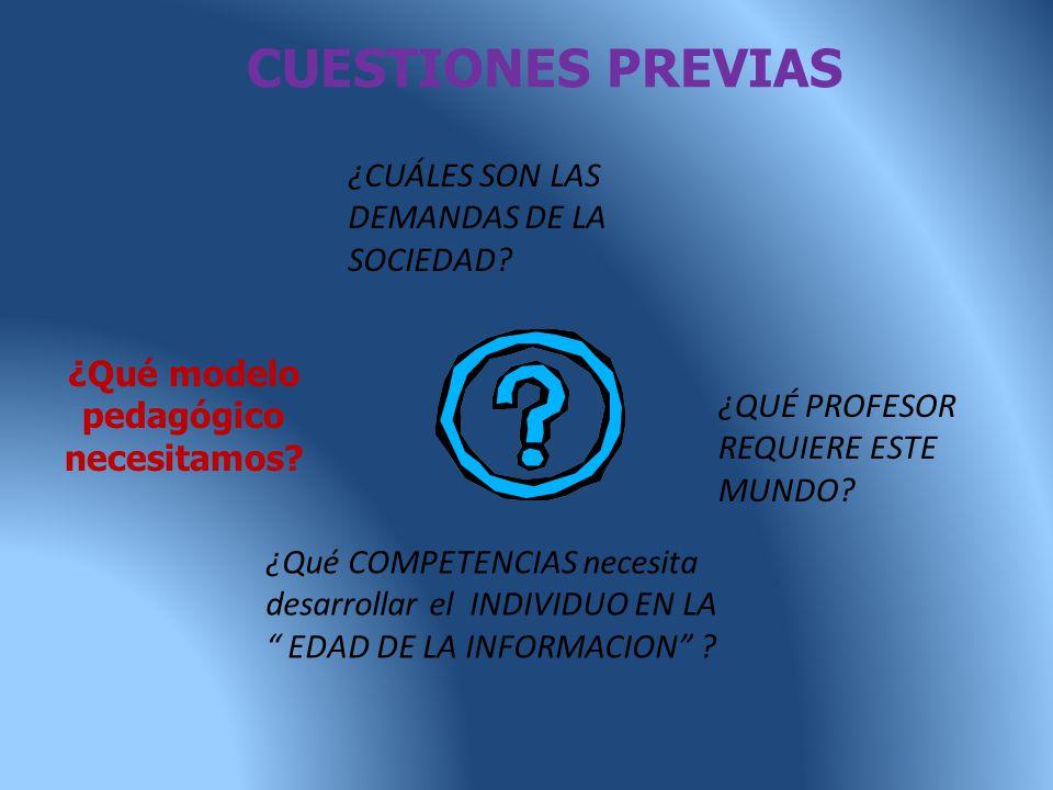 CUESTIONES PREVIAS ¿QUÉ PROFESOR REQUIERE ESTE MUNDO.