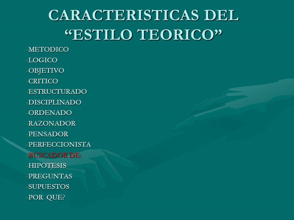CARACTERISTICAS DEL ESTILO TEORICO -METODICO -LOGICO -OBJETIVO -CRITICO -ESTRUCTURADO -DISCIPLINADO -ORDENADO -RAZONADOR -PENSADOR -PERFECCIONISTA -BU