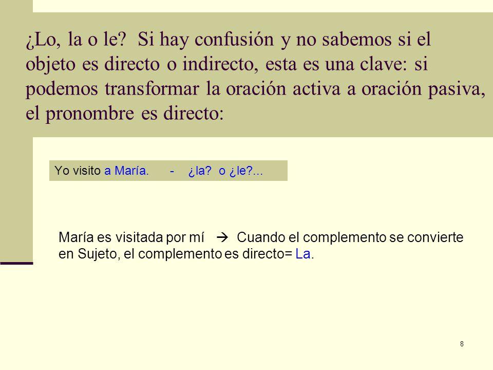 9 Continúa… Otra cosa para recordar: con el objeto indirecto, la acción del verbo no se ejecuta.