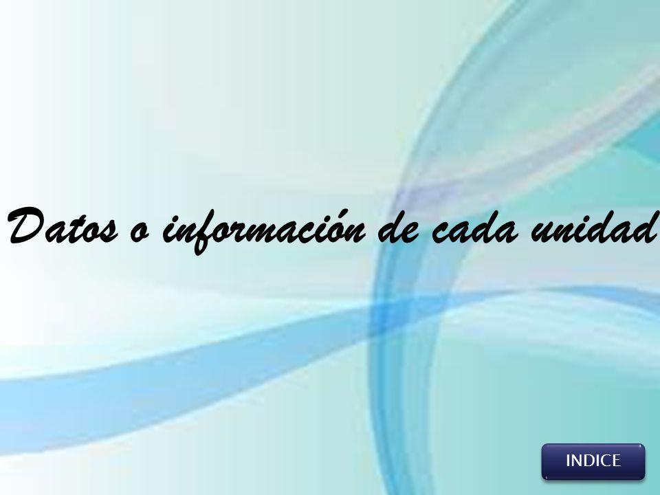 INDICE Datos o información de cada unidad