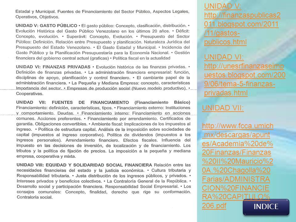 INDICE UNIDAD V: http://finanzaspublicas2 011.blogspot.com/2011 /11/gastos- publicos.html UNIDAD VI: http://unesrfinanzaseimp uestos.blogspot.com/200