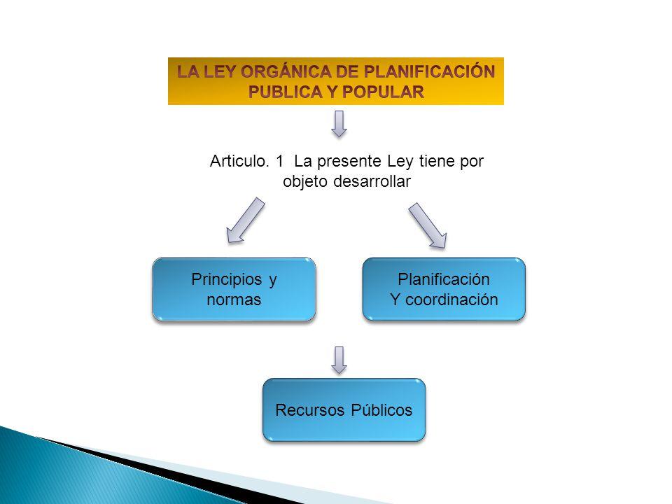 Articulo. 1 La presente Ley tiene por objeto desarrollar Planificación Y coordinación Planificación Y coordinación Principios y normas Recursos Públic