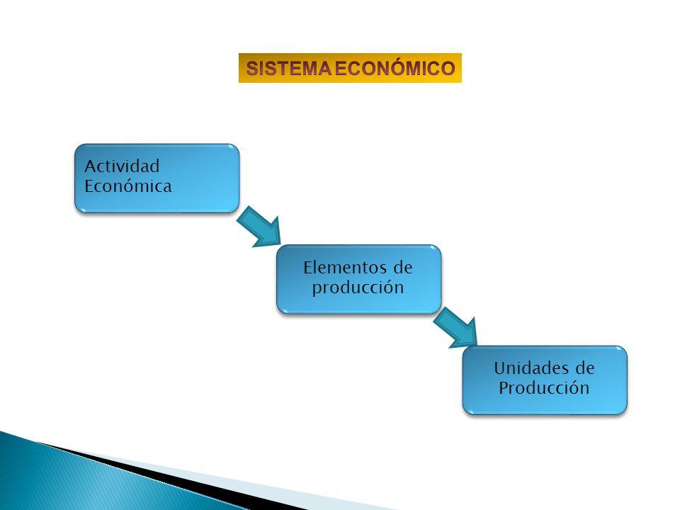 Actividad Económica Elementos de producción Unidades de Producción