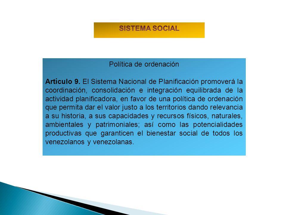 Política de ordenación Artículo 9. El Sistema Nacional de Planificación promoverá la coordinación, consolidación e integración equilibrada de la activ