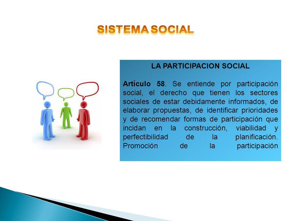LA PARTICIPACION SOCIAL Artículo 58. Se entiende por participación social, el derecho que tienen los sectores sociales de estar debidamente informados