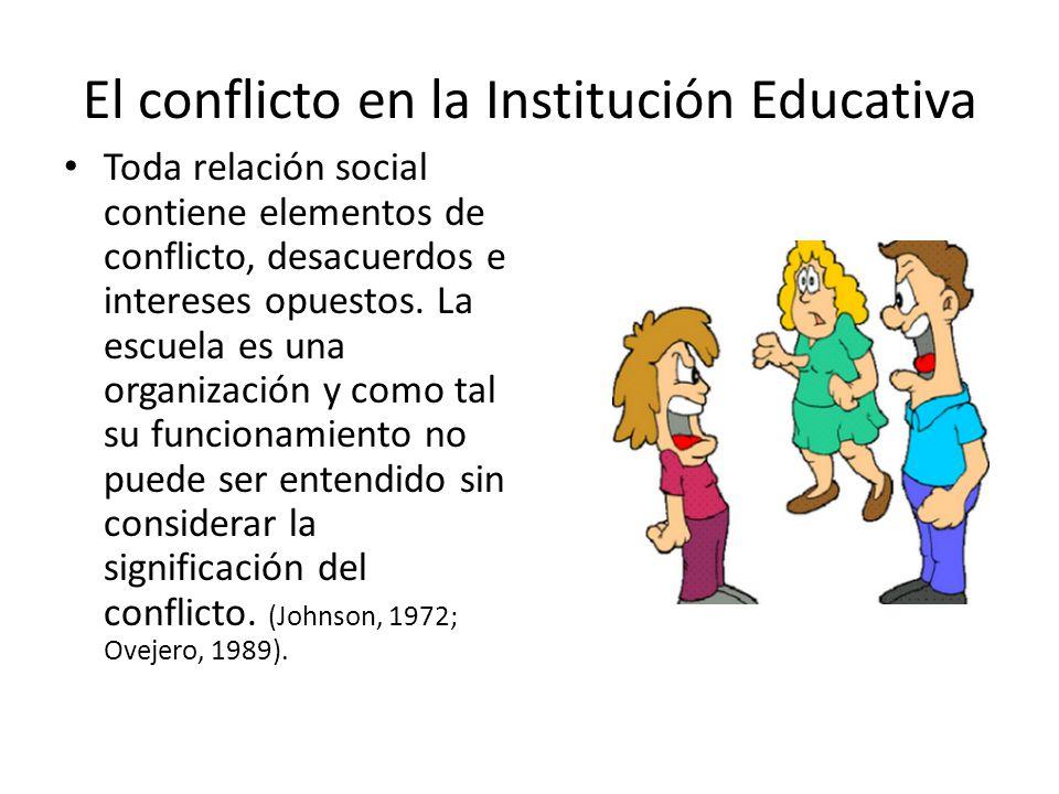 El conflicto en la Institución Educativa Toda relación social contiene elementos de conflicto, desacuerdos e intereses opuestos.