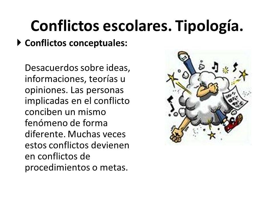 Conflictos escolares.Tipología.