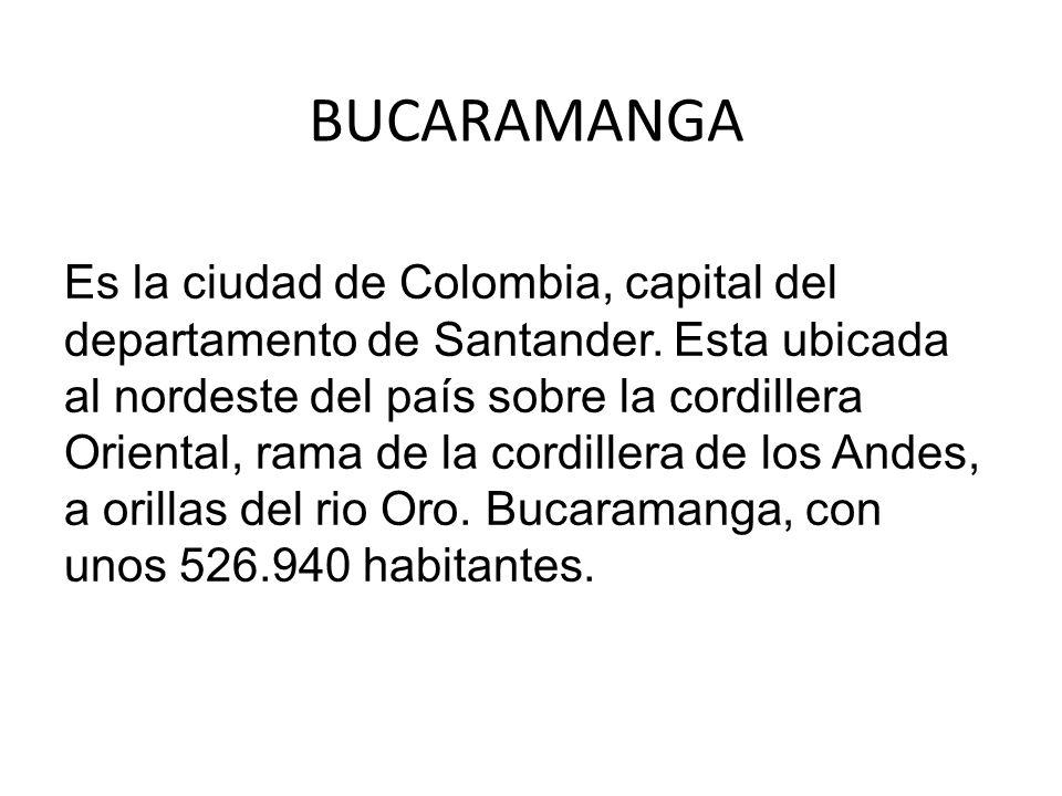 BUCARAMANGA Es la ciudad de Colombia, capital del departamento de Santander. Esta ubicada al nordeste del país sobre la cordillera Oriental, rama de l
