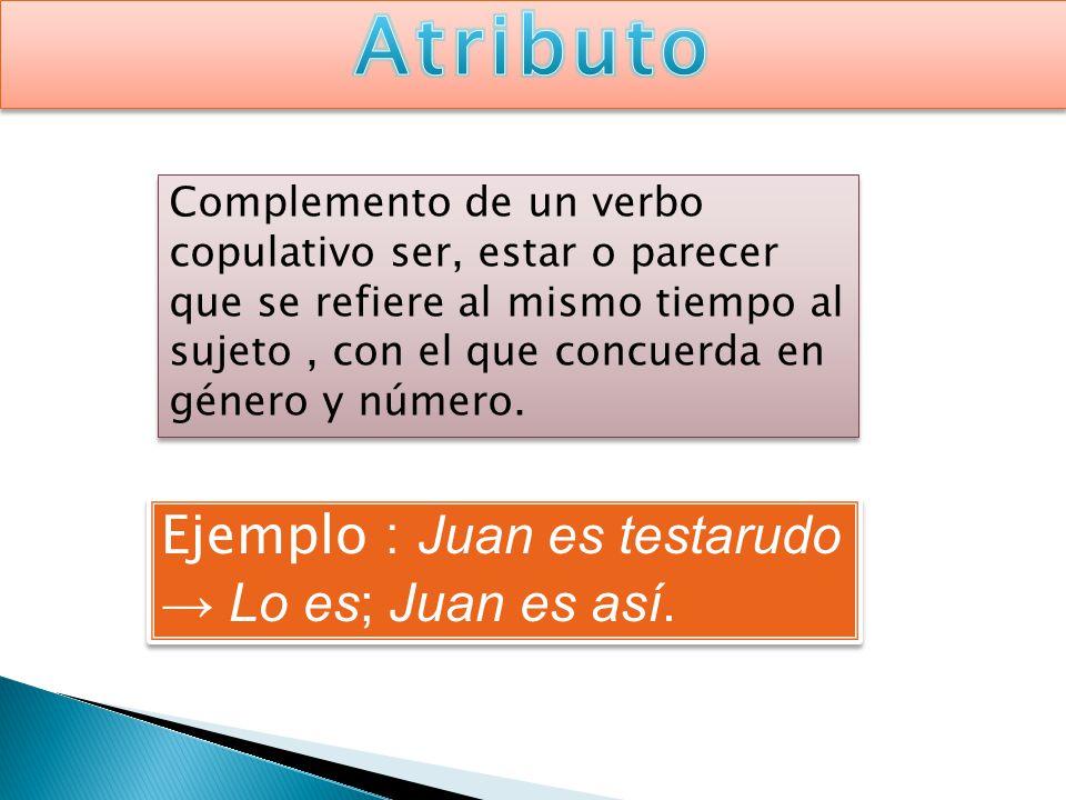 Complemento de un verbo copulativo ser, estar o parecer que se refiere al mismo tiempo al sujeto, con el que concuerda en género y número. Ejemplo : J