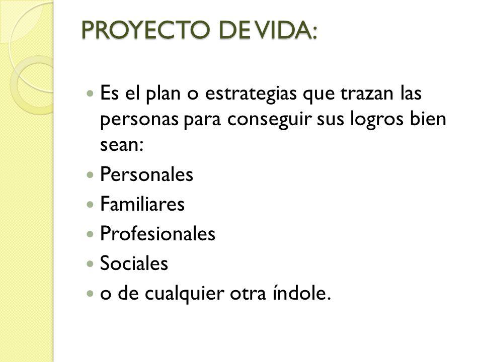 PROYECTO DE VIDA: Es el plan o estrategias que trazan las personas para conseguir sus logros bien sean: Personales Familiares Profesionales Sociales o