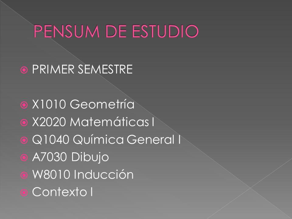 PRIMER SEMESTRE X1010 Geometría X2020 Matemáticas I Q1040 Química General I A7030 Dibujo W8010 Inducción Contexto I