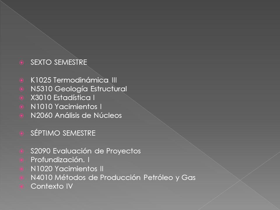 SEXTO SEMESTRE K1025 Termodinámica III N5310 Geología Estructural X3010 Estadística I N1010 Yacimientos I N2060 Análisis de Núcleos SÉPTIMO SEMESTRE S2090 Evaluación de Proyectos Profundización.