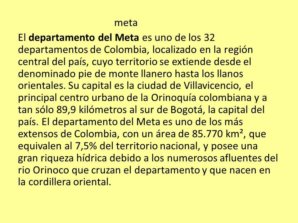 meta El departamento del Meta es uno de los 32 departamentos de Colombia, localizado en la región central del país, cuyo territorio se extiende desde el denominado pie de monte llanero hasta los llanos orientales.