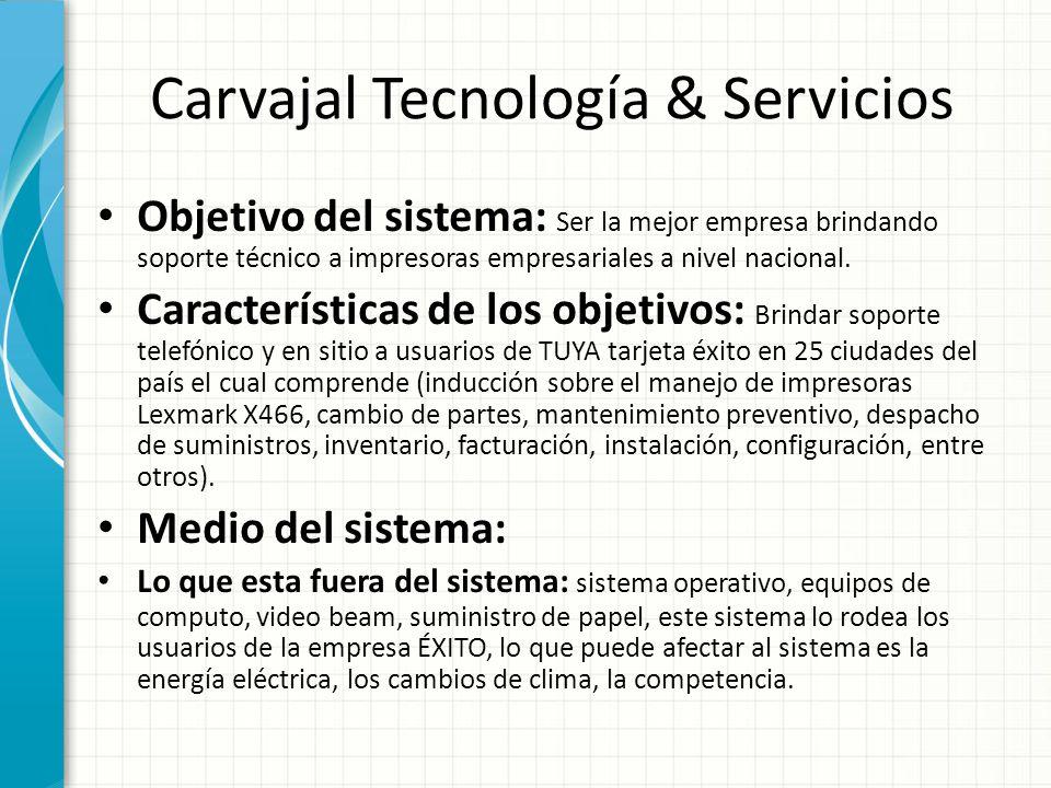 Carvajal Tecnología & Servicios Objetivo del sistema: Ser la mejor empresa brindando soporte técnico a impresoras empresariales a nivel nacional. Cara