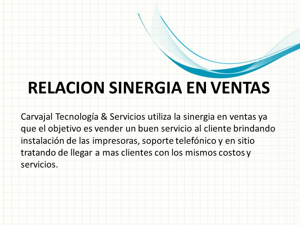 RELACION SINERGIA EN VENTAS Carvajal Tecnología & Servicios utiliza la sinergia en ventas ya que el objetivo es vender un buen servicio al cliente bri