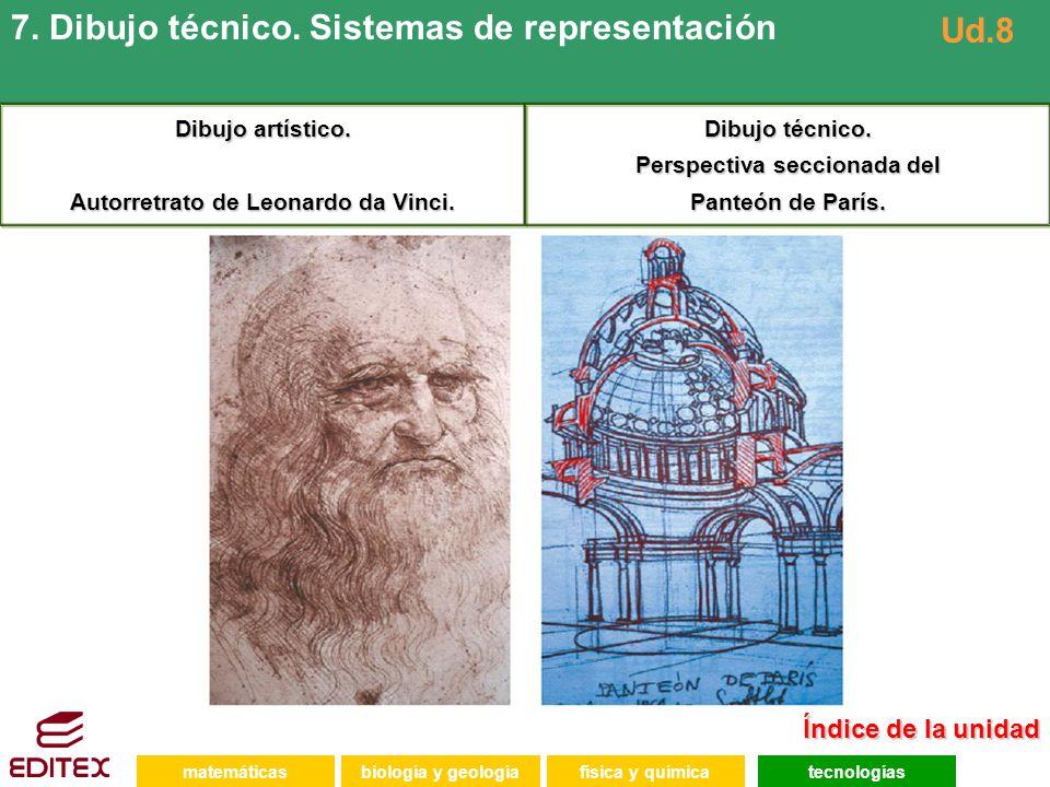 Índice de la unidad Índice de la unidad matemáticasfísica y químicatecnologíasbiología y geología 7. Dibujo técnico. Sistemas de representación Ud.8 D