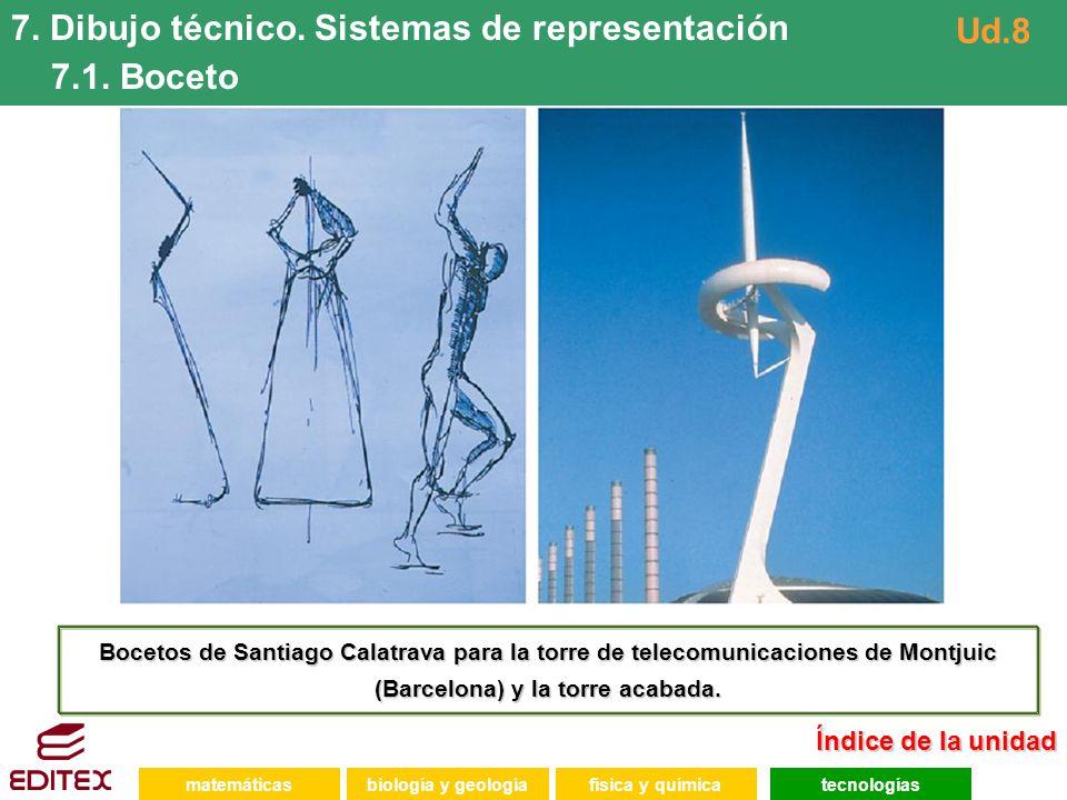 matemáticasfísica y químicatecnologíasbiología y geología 7. Dibujo técnico. Sistemas de representación 7.1. Boceto Ud.8 Bocetos de Santiago Calatrava