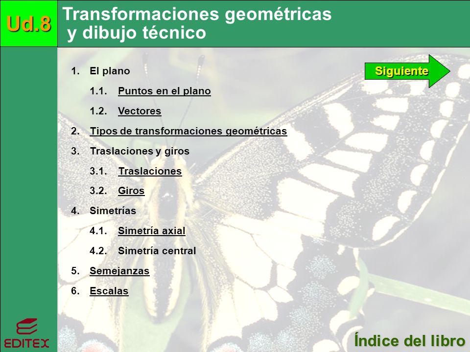 Transformaciones geométricas y dibujo técnicoUd.8 Índice del libro Índice del libro Siguiente 1. El plano 1.1. Puntos en el planoPuntos en el plano 1.