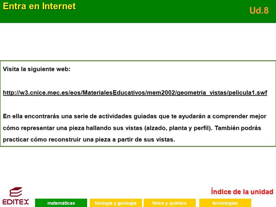 Índice de la unidad Índice de la unidad Entra en Internet Ud.8 Visita la siguiente web: http://w3.cnice.mec.es/eos/MaterialesEducativos/mem2002/geomet