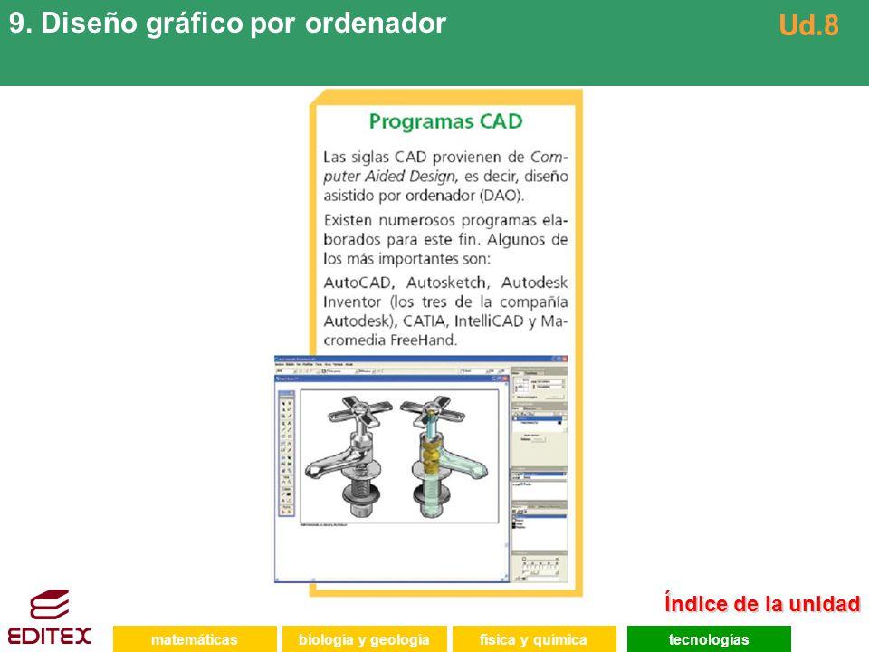 matemáticasfísica y químicatecnologíasbiología y geología 9. Diseño gráfico por ordenador Ud.8 Índice de la unidad Índice de la unidad
