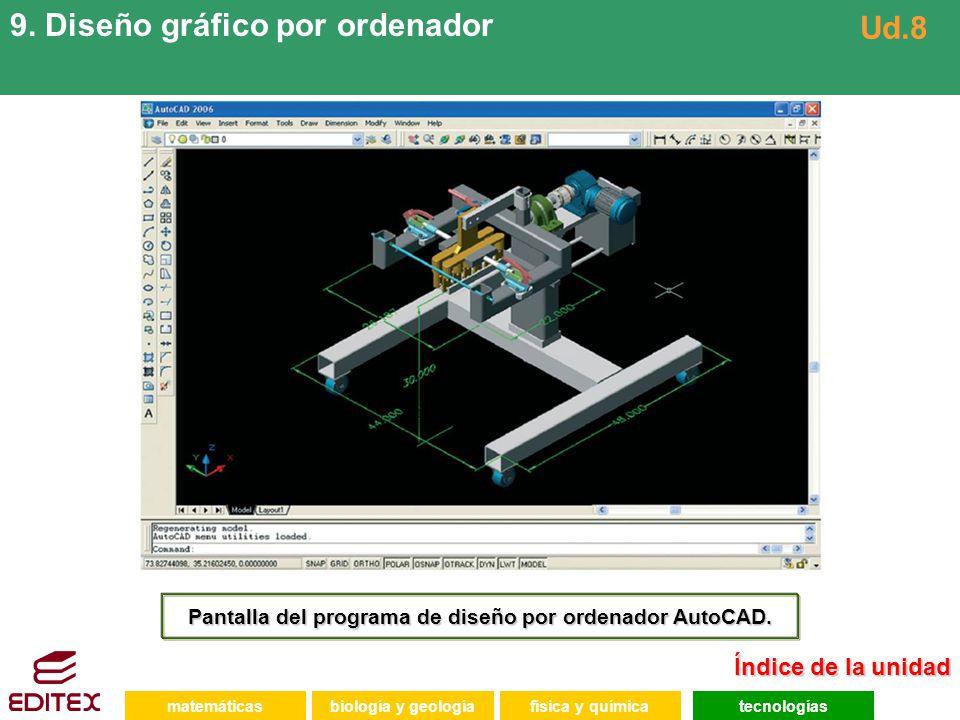 matemáticasfísica y químicatecnologíasbiología y geología 9. Diseño gráfico por ordenador Ud.8 Pantalla del programa de diseño por ordenador AutoCAD.