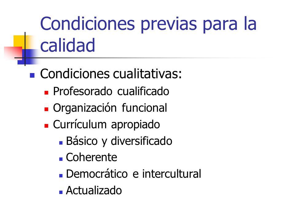 Condiciones previas para la calidad Condiciones cualitativas: Profesorado cualificado Organización funcional Currículum apropiado Básico y diversifica
