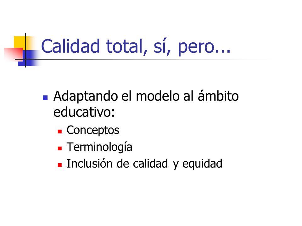 Calidad total, sí, pero... Adaptando el modelo al ámbito educativo: Conceptos Terminología Inclusión de calidad y equidad