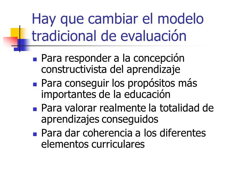 Hay que cambiar el modelo tradicional de evaluación Para responder a la concepción constructivista del aprendizaje Para conseguir los propósitos más i