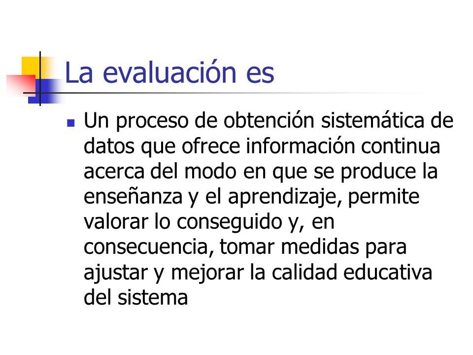 La evaluación es Un proceso de obtención sistemática de datos que ofrece información continua acerca del modo en que se produce la enseñanza y el apre
