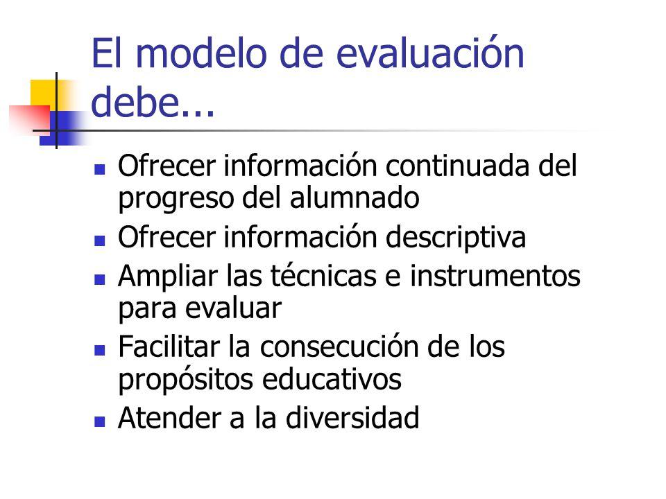 El modelo de evaluación debe... Ofrecer información continuada del progreso del alumnado Ofrecer información descriptiva Ampliar las técnicas e instru