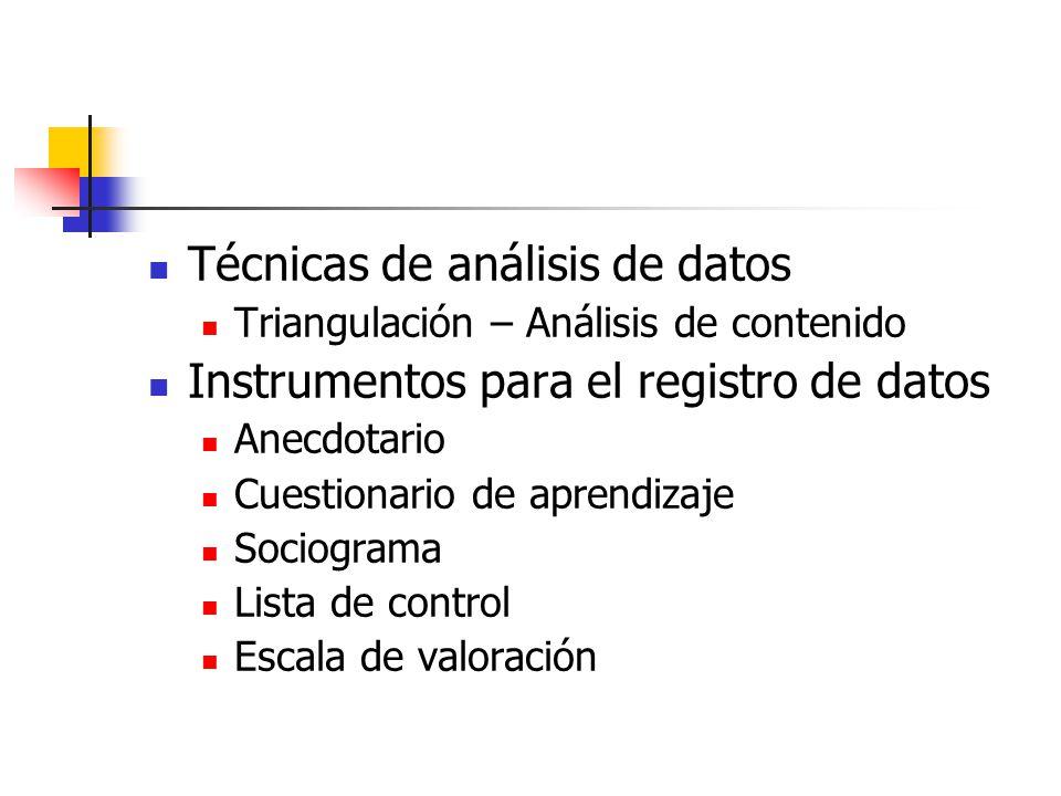 Técnicas de análisis de datos Triangulación – Análisis de contenido Instrumentos para el registro de datos Anecdotario Cuestionario de aprendizaje Soc