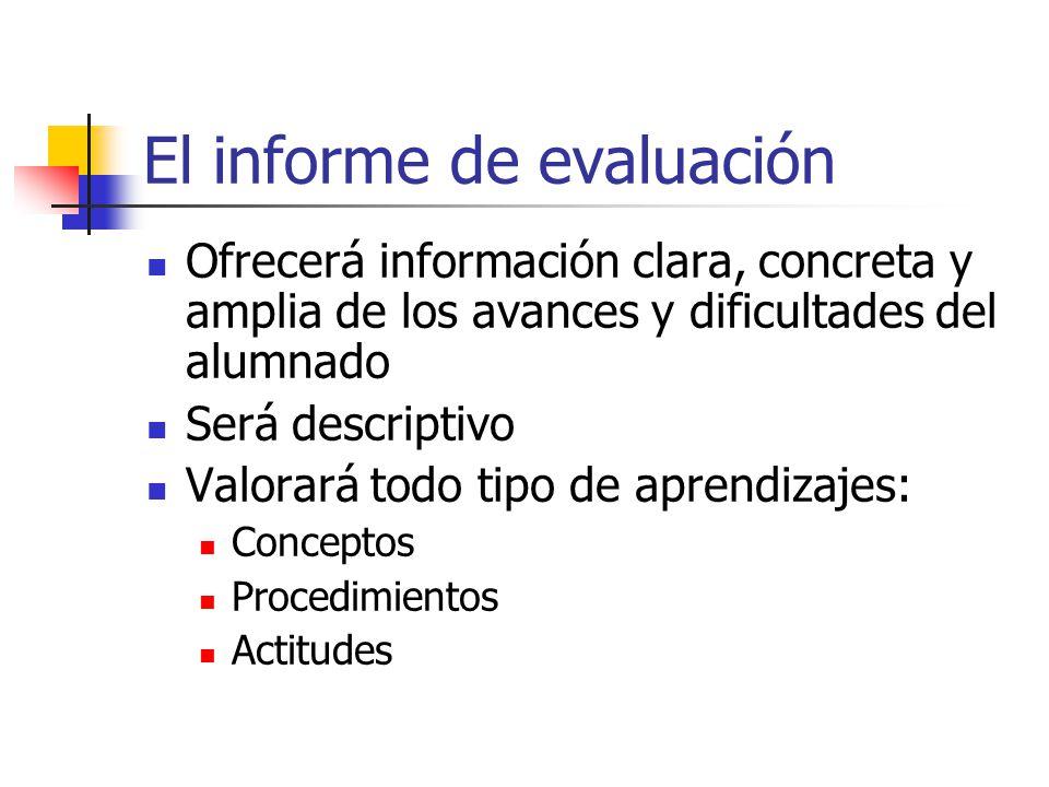 El informe de evaluación Ofrecerá información clara, concreta y amplia de los avances y dificultades del alumnado Será descriptivo Valorará todo tipo