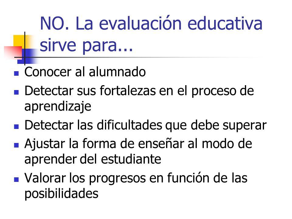 NO. La evaluación educativa sirve para... Conocer al alumnado Detectar sus fortalezas en el proceso de aprendizaje Detectar las dificultades que debe