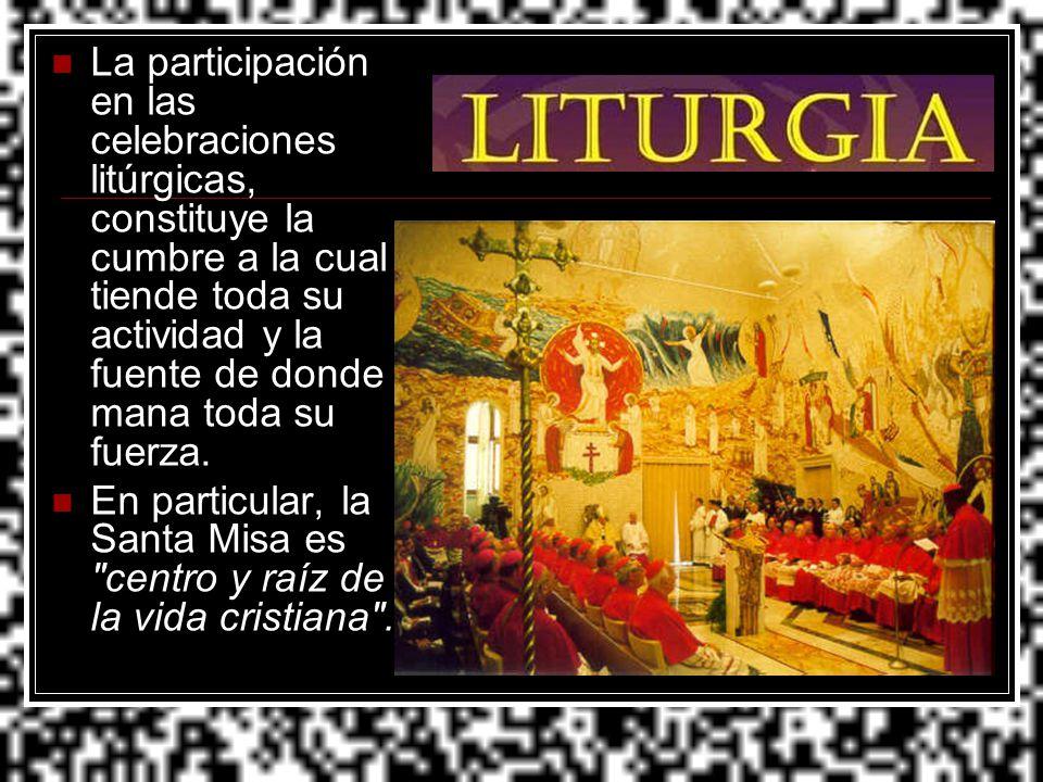 La participación en las celebraciones litúrgicas, constituye la cumbre a la cual tiende toda su actividad y la fuente de donde mana toda su fuerza. En