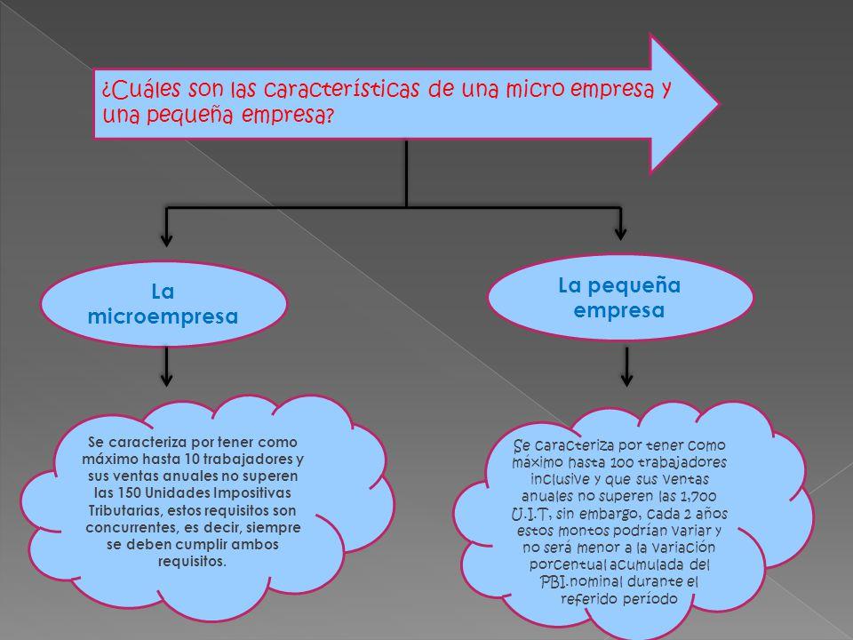¿Cuáles son las características de una micro empresa y una pequeña empresa? La microempresa Se caracteriza por tener como máximo hasta 10 trabajadores